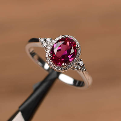 Elegant Oval Red Ruby Halo Wedding Ring Women 925 Silver Engagement Jewelry Gift](Red Wedding Ring)