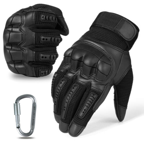 Leather Tactical Full Finger Gloves Black Combat Shooting Hunting Military Army