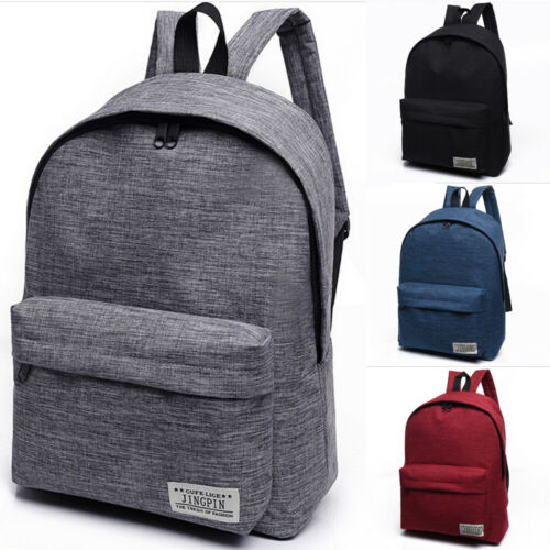 US Women Men Shoulder Canvas Backpack Rucksack School Book T