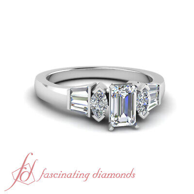 1 Carat Emerald Cut White Gold Diamond Engagement Rings For