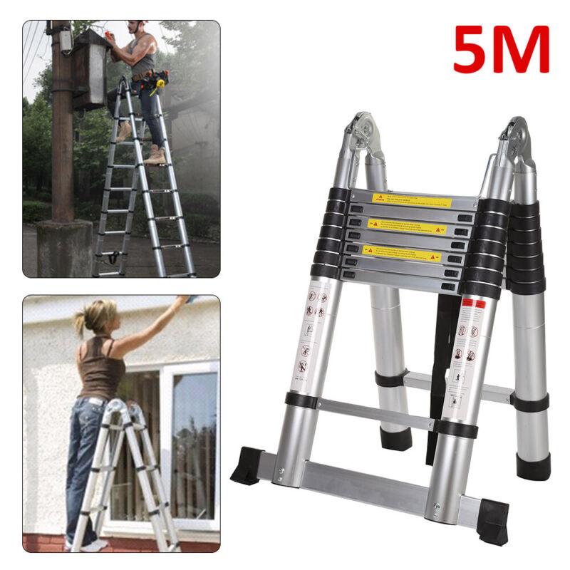 5m Alu Teleskopleiter Stehleiter Mehrzweckleiter Anlegeleiter Leiter Ladder DE
