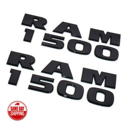 2x OEM RAM 1500 Emblem 3D Badges Letters for RAM1500 Rebel TRX L Gloss Black