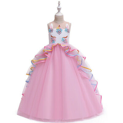Childrens Girls Princess Unicorn Flower Tulle Tutu Embroidered long Dress ZG9 - Unicorn Costumes For Girls
