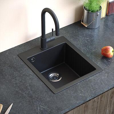 Granit Spüle Küchenspüle Einbauspüle Spülbecken Küche + Siphon Schwarz