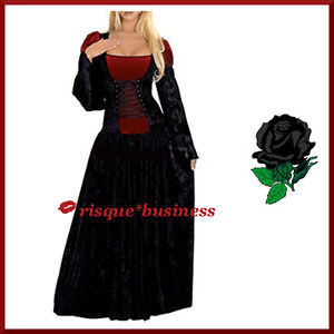 Gothic Medieval Vampire Vampiress Witch Fancy Dress Gown Costume - XL / 16-18