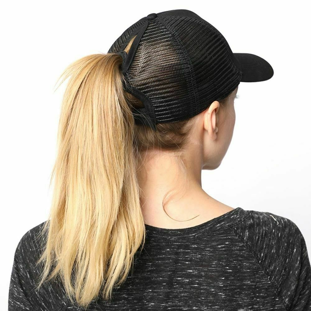Summer Baseball Cap Women Messy Bun Ponytail Adjustable Sport Trucker Hat Cute Clothing, Shoes & Accessories