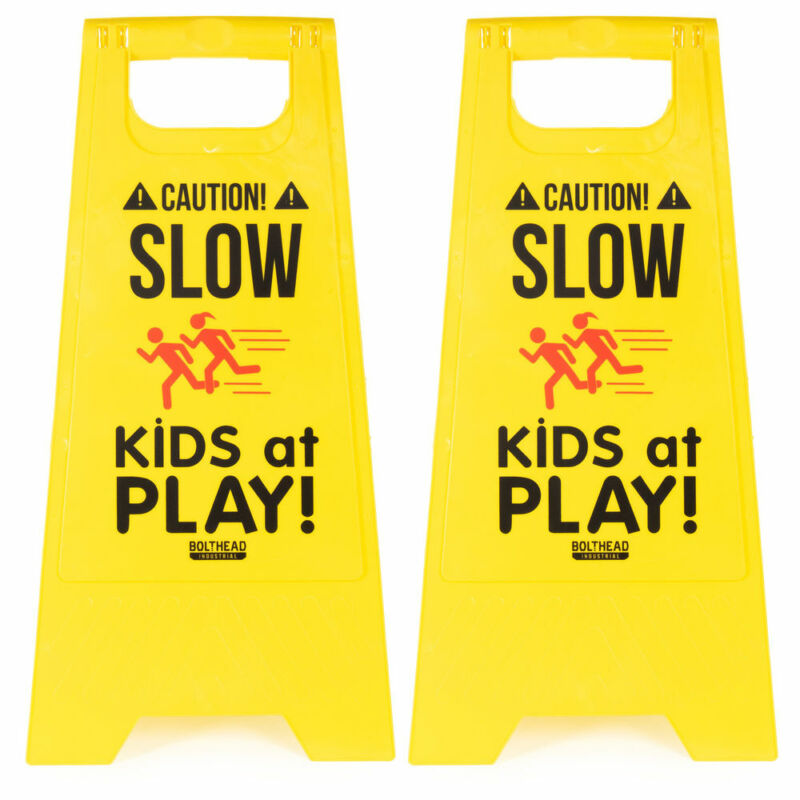 2-pack Caution! Slow Kids at Play! Child Safety & Slow Down Double-Sided Signs