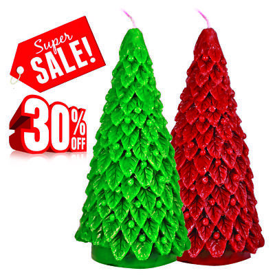 - Christmas Table Decor Tree Scented Candle-2 Pack Green & Red 8'' Trees- 30% Off