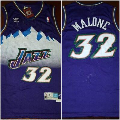Retro Utah Jazz Karl Malone  32 Purple Mens Size Lrg Throwback Basketball Jersey