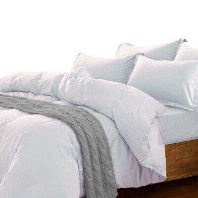 Essina Solid Color Cotton Twin / Queen / King Duvet Cover Set, Candies White ()