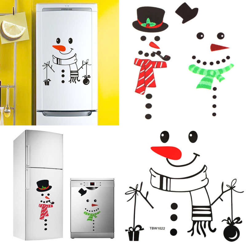 Dekor Schneemann Kuehlschrank Ornament Wandaufkleber Sticker für Kühlschrank