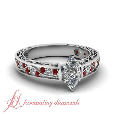 .85 Ct Marquise Cut SI1-E Color Diamond & Ruby Legacy Style Engagement Ring GIA