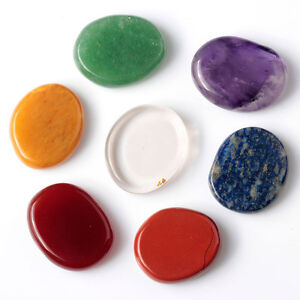 7 piece chakra stone palm stone crystal reiki healing with one pouch