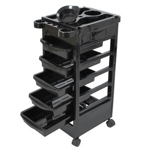 Hair Salon Spa Rolling Trolley Storage Tray Cart Beauty Blow Dryer Holder Black