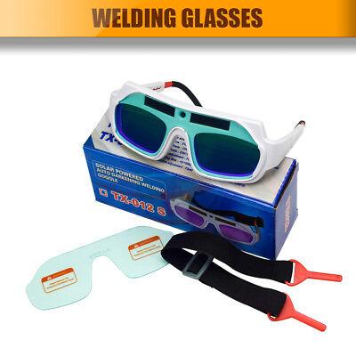 HQ Solar Powered Auto Darkening Welding Goggles PC Lens US Stock