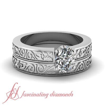 Solitaire Wedding Rings Set 1/2 Carat Oval Shaped D-Color Diamond GIA Certified