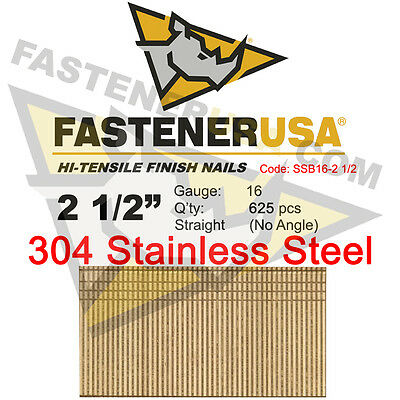 2 12 16 Gauge 304 Stainless Steel Straight Finish Nails 16 Ga 625 Ct