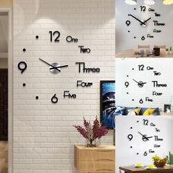 Large Wall Clock Modern Design 3D Wall Sticker Clock Silent Home Decor Quartz US
