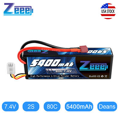 Zeee 5400mAh 80C 2S 7.4V Lipo Battery Hardcase Deans Plug for RC Car Truck Boat