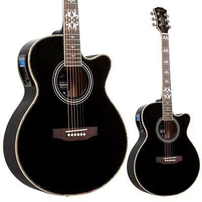 Lindo Black Fire Electric / Electro Acoustic Guitar LCD Digital Tuner EQ Gigbag