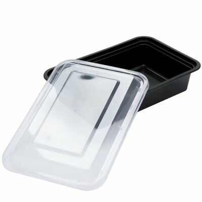Safepro 38 Oz. Black Rectangular Microwavable Container With Lid 25