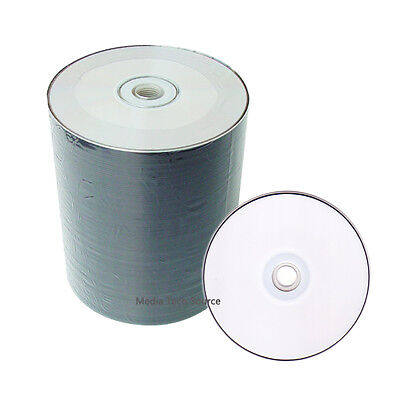 100 White Inkjet HUB Printable CD-R CDR Recordable 52X Blank Disc Media