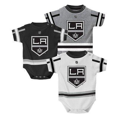 Infant Hockey Jersey (Los Angeles Kings NHL Infant Black/Grey/White Hockey Jersey 3 Piece Creeper Set )
