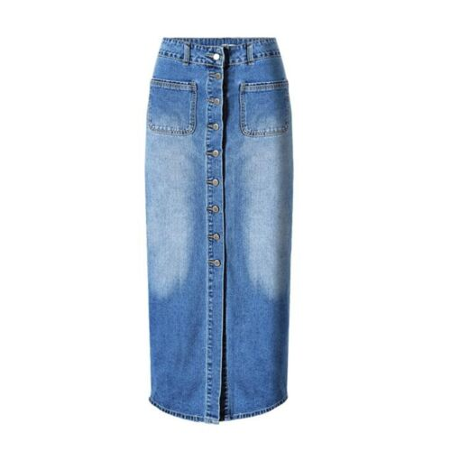 90a95c1ff133 Womens Long Denim Skirt Casual Loose High Waisted Single Breasted Jean Skirt