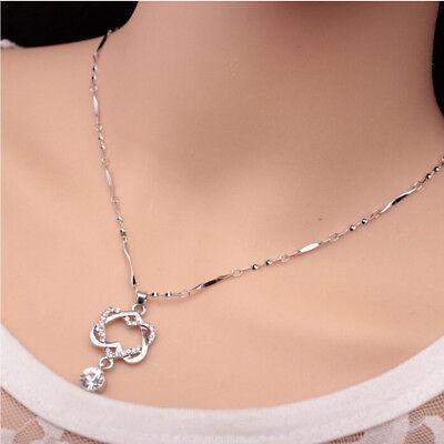 Luxury Design Crystal Rhinestone Double Heart Pendant Necklace Designer Crystal Double Heart