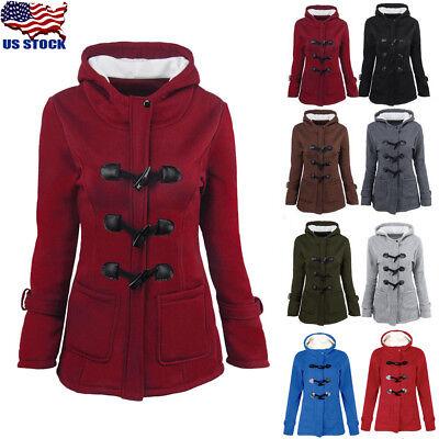 Women Trench Parka Hooded Coat Jacket Outwear Winter Warm Long Overcoat Hoodies ()
