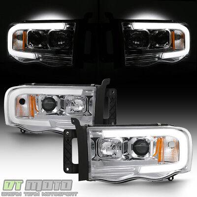 2002-2005 Dodge Ram 1500 03-05 2500 3500 LED Tube Projector Headlights Headlamps
