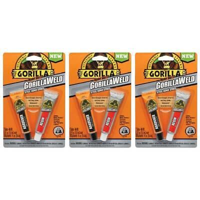 GorillaWeld Epoxy Steel Bond Two Part Adhesive Resin Hardener Dark Grey, 3-Pack
