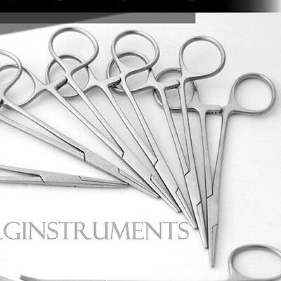 10 Pcs Mosquito Hemostat Locking Forceps 5 Curved & 5 Straight Stainless Steel