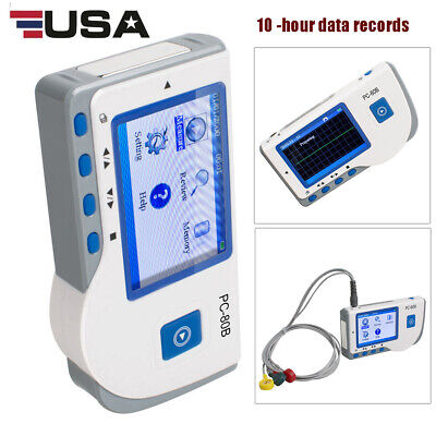 Portable Ecg Electrocardiogram Heart Rate Monitor Record Machine Single Channel