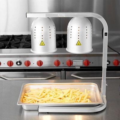 Aluminum 2 Bulb Free Standing Buffet Heat Lamp Food Warmer