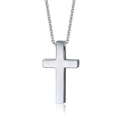 Charm Boy Girl Men Women Stainless Steel Silver Cross Pendant Necklace Chain 20""