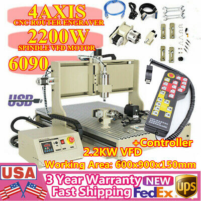 Usb Cnc 6090 Router 4-axis Engraver Milling Machine Metal Woodworking 2.2kw Rc