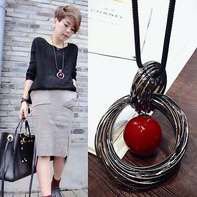 Fashion Circle Red Pearl Pendant Statement Long Chain Sweater Necklace - Red Bead Jewelry