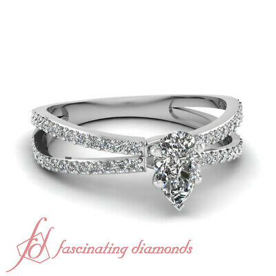 Engagement Rings For Women White Gold 1.30 Ct Pear Shaped Diamond GIA Certified