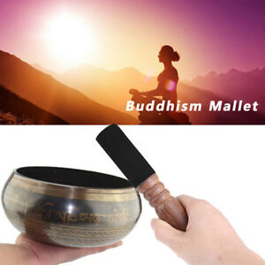UK 6.8inch Tibetan Buddhism Singing Bowl Wood Mallet Striker Stick Leather Head