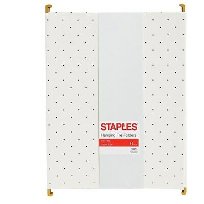 Staples Fashion Hanging File Folder Letter Gold Pindot 6pk 51787 2756990