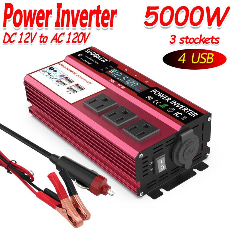 12V DC To AC 110V 120V 5000W Peak Car Power Inverter Solar Converter LCD 4USB US