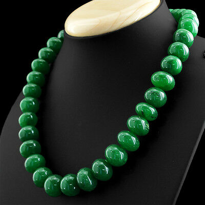 791.50 CTS EARTH MINED RICH GREEN EMERALD ROUND BEADS SINGLE STRAND NECKLACE