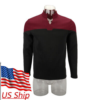 Top Costumes (2019 Star Trek Picard Startfleet Uniform Cosplay Command Red Top Shirt)