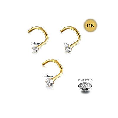 20G 14K Solid Yellow Gold  Genuine Diamond Nose Screw Stud piercing Jewelry FS