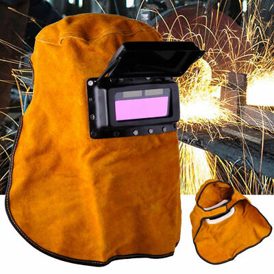 Solar Powered Auto Darkening Filter Lens Welder Leather Hood Welding Helmet Mask