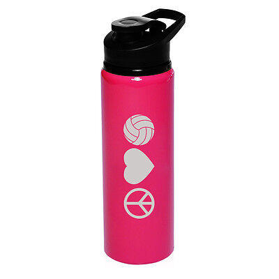 25oz Aluminum Sports Water Bottle Travel Peace Love Volleyball
