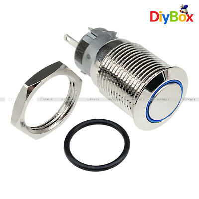 5pin 12v 16mm Diy Auto Push Power Button Led Angel Eye Push-buttons Metal