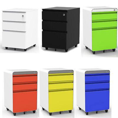 3 Drawer Metal - 3 Drawer Metal Mobile File Cabinet Filing Organizer Home Office with Wheel