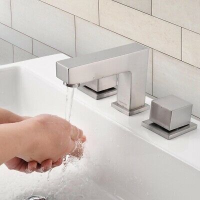 Widespread Bathroom Sink Faucet Bathtub Basin Mixer Tap Free Handle Brushed